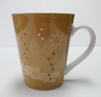 Starbucks Brown Tan Diamonds Chevron Starburst Tea Coffee Mug Cup 2013 12 oz