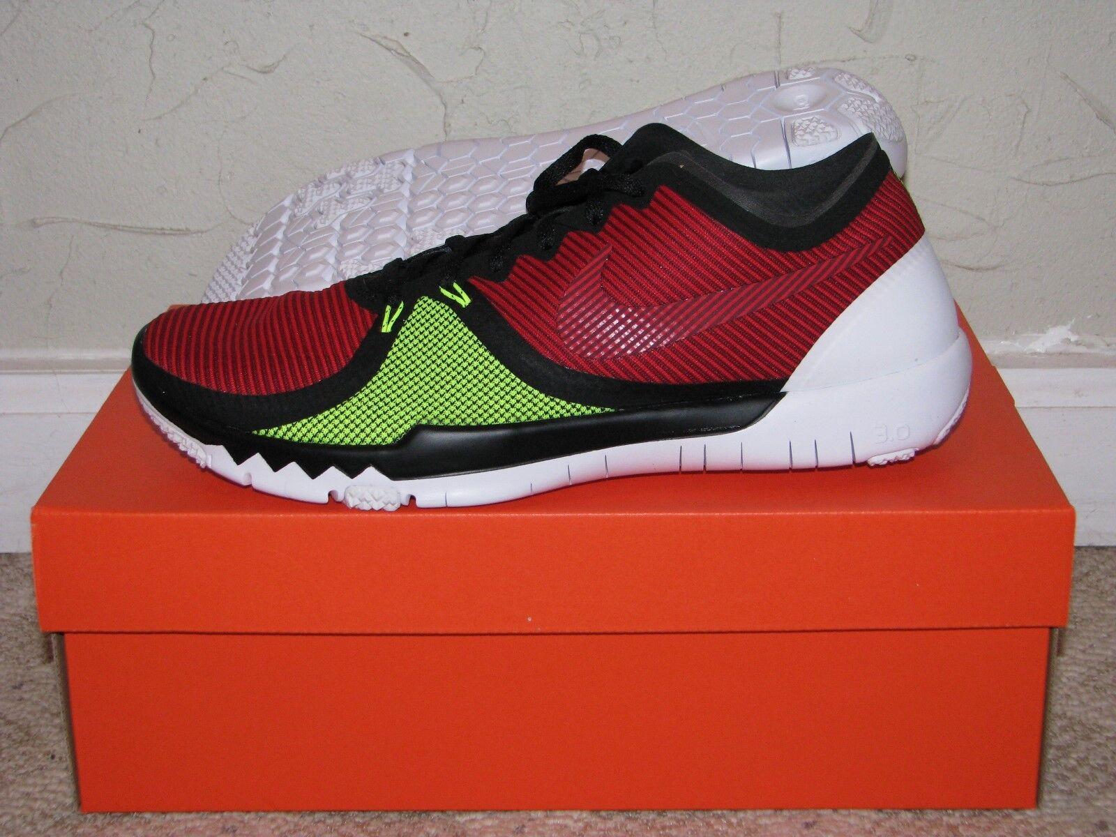 Nike Free Trainer 3.0 V4 Black   Red   Volt Mens Size 10 DS NEW  5.0 749361-066
