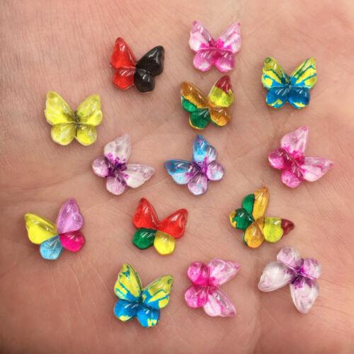 New 80pcs Mix resin Colorful Butterfly Flatback rhinestone scrapbook wedding DIY