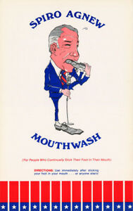 LOT-OF-2-POSTERS-COMICAL-SPIRO-AGNEW-MOUTHWASH-FREE-SHIPPING-RC44-i