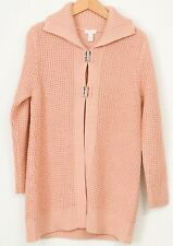 Chicos Cardigan Sweater 1 Knit Duster Wool Blend Pink Peach Metal Clasp Womens
