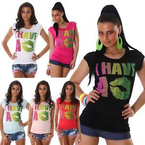 Maglia-donna-maglietta-t-shirt-stampe-scritte-multicolore-strass-maniche-corte