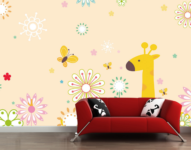 3D Cartoon Giraffe Flowers 8 Paper Wall Print Wall Decal Wall Deco Indoor Murals
