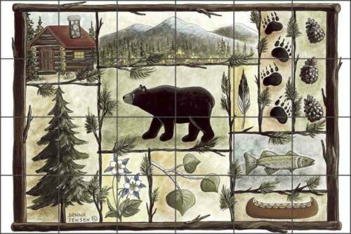 Tile Mural Backsplash Ceramic Jensen Bear Animal Wildlife Lodge Art DJ033