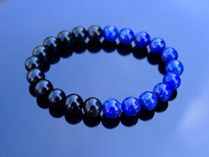 Lapis-Lazuli-Black-Obsidian-Natural-Gemstone-Bracelet-6-9-039-039-Elasticated-Healing