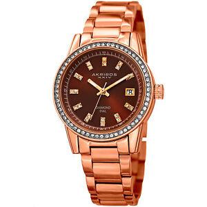 Women-039-s-Akribos-XXIV-AK928RGBR-Swarovski-Crystal-Bezel-with-Diamond-Marker-Watch