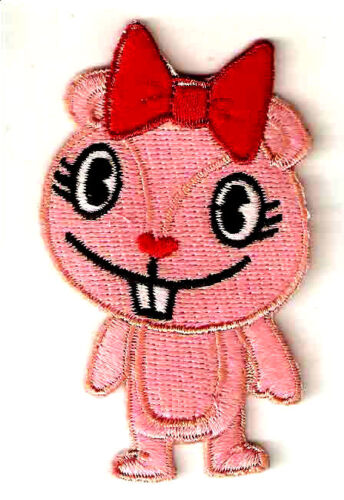 "1.5X3/"" Rires Rose Chipmunk Happy Tree Friends brodé Iron On Sew On Patch"