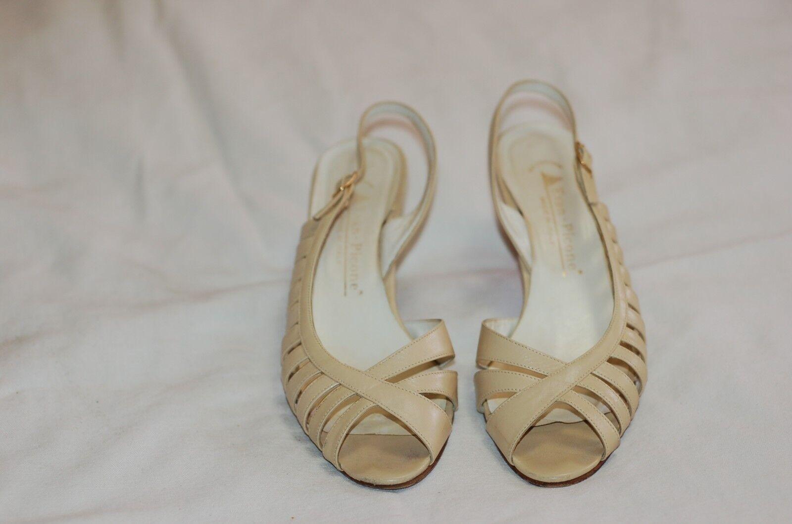 Evan Picone Cream Cream Cream Leather Slingback Sandals shoes Sz 8 1 2 Medium Made in  639298