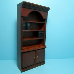 Image Is Loading Dollhouse Miniature Wood Bookcase With Books Amp Lower