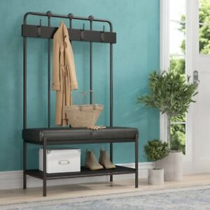 Cool Details About Black Metal Entryway Hall Tree Coat Stand Home Living Room Furniture Bench Caraccident5 Cool Chair Designs And Ideas Caraccident5Info