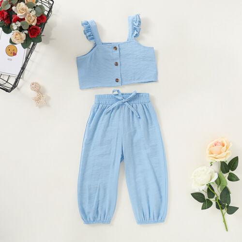 US Toddler Infant Kids Baby Girl Clothes Sling Top Pants Outfits Sets Tracksuit