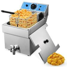 8l Commercial Electric Deep Fryer Fat Chip Single Tank Stainless Steel 2500w