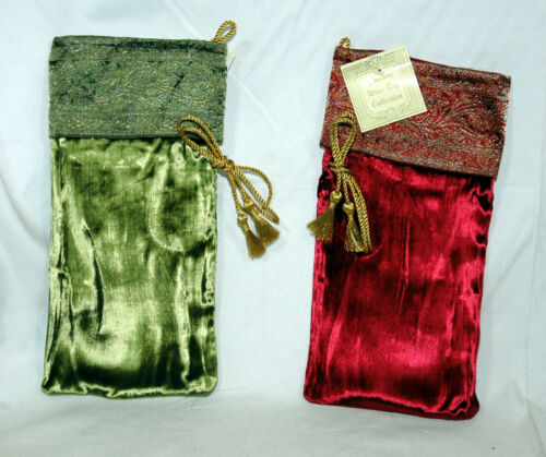 Two Wine Bag Collection Couture Christmas Sock Red and Moss Green