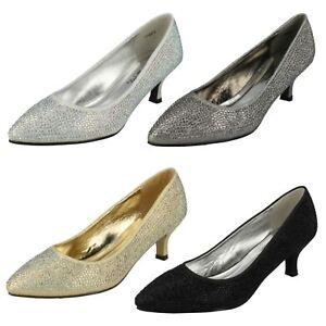 Ladies-Anne-Michelle-Diamante-Low-Heel-Court-Shoes