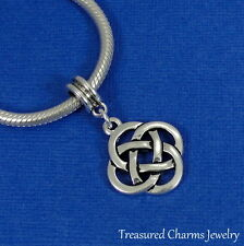 Silver Irish Celtic Knot Dangle Bead Charm fits European Bracelets NEW