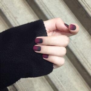 False Nails Fairy tale Apple Gradient Black Red Matte Nail Patches ...