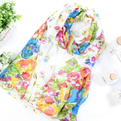 Womens Ladies Floral Print Long Neck Large Scarf Wrap Shawl Stole Scarves Gift