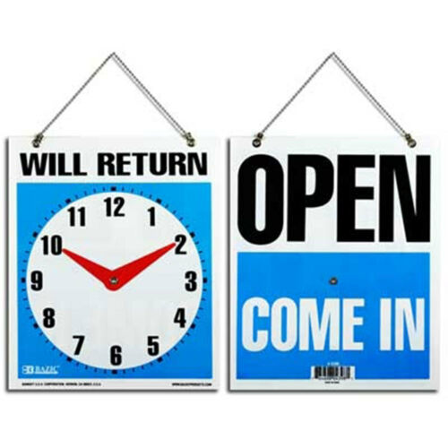 """WILL RETURN CLOCK SIGN WITH OPEN ON THE  BACK SIDE .7.5/"""" X 9/"""" LOT OF 48"""