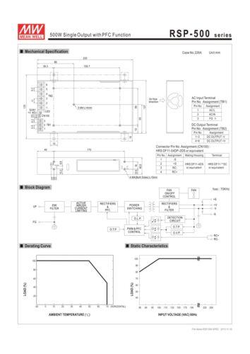 Mean Well rsp-500-12 quadro Alimentatore 500w 12v piatto 40mm 1hu installazione-Alloggiamento in metallo
