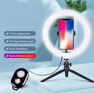 "Desktop Selfie 10"" Ring Light w/ Tripod Stand & Phone Holder for Photography NEW"