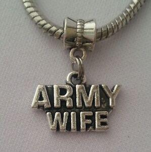 Army-Wife-USA-Military-Dangle-Charm-Bead-Silver-for-European-Bracelet