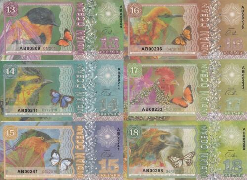 private issue Indian Ocean Set 6 banknotes 13-18 dollars 2018 year UNC