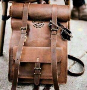 """22/"""" New Real Genuine Leather Back Pack Rucksack Laptop Shoulder Travel Men/'s Bag"""