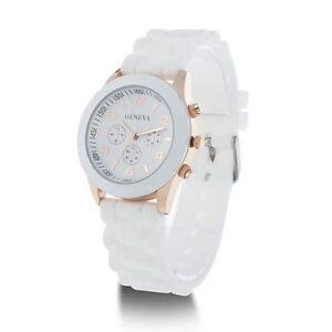 WHITE-Designer-Luxury-Sports-Analogue-Silicone-Wrist-Watch-Geneva-Men-Ladies