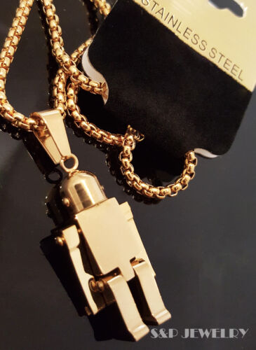 """Gold Stainless Steel Movable Robot Charm w// 24/"""" Round Box Chain Necklace 186G"""