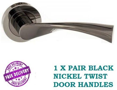 1 Set ASTRID BLACK NICKEL Twisted INTERIOR Door Handles Lever on Rose D12