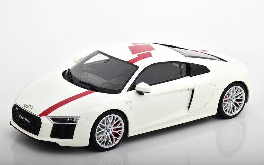 AUDI R8 V10 RWS 2018 bianca rosso GT SPIRIT GT247 118 RESINE 999 PIECES WEISS