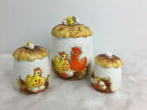 Set-3-Sears-Roebuck-amp-Co-Vintage-1976-Chicken-Egg-Nest-Ceramic-Sugar-Cookie-Jar