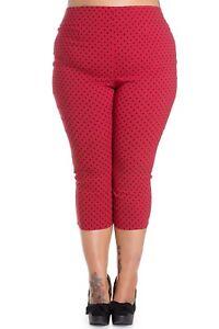 9aecdcd0e3997 Plus Size Red Cropped Polka Dot Spotty Capri Trousers Pants 18 20 ...