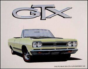 1968-Plymouth-GTX-Convertible-Orig-Art-Print-Lithograph