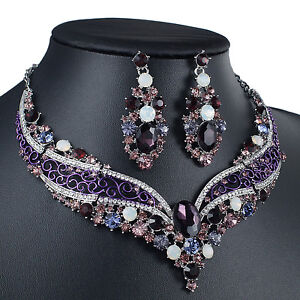 YT297 Purple Rhinestone Alloy Earrings Necklace Set Bridal Wedding Party Prom