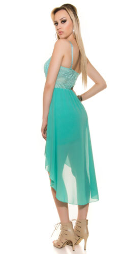 KouCla HighLow Kleid Spitze Chiffon Abendkleid Vokuhila Minikleid Party Hochzeit