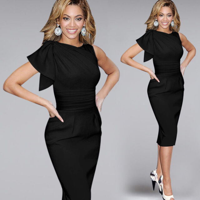 Women Ruffle Ruched Tunic Slim Bodycon Party Cocktail Business Work Pencil Dress