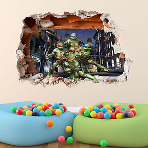 Teenage-mutant-ninja-turtles-autocollant-mural-3D-garcons-chambre-vinyle-mur-art-decalque