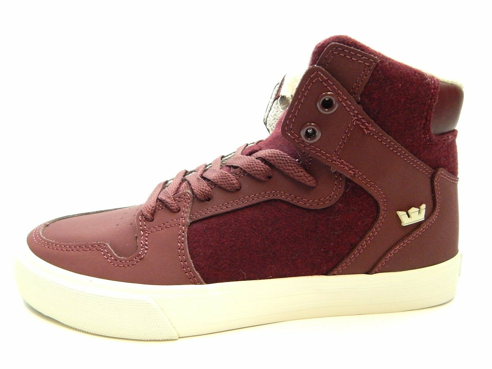 SUPRA VAIDER BURGUNDY WHITE 08009-650-M MEN SHOES SIZE 8.5 TO 12