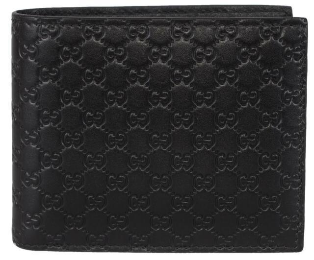44adb93263c Gucci Men s 260987 Black Leather Micro GG Guccissima Bifold Wallet ...