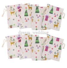 10x Linen Jute Sack Jewelry Pouch Drawstring Gift Bags Xmas Pattern Favour