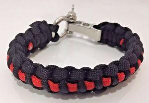 Thin Red Line Firefighter Punisher Skull /& USA Flag Handmade Paracord Bracelet