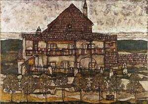 House-with-shingle-by-Egon-Schiele-art-print-on-230gsm-photo-paper-choose-size