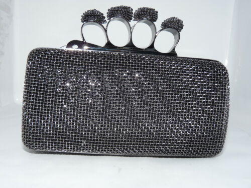 BNWT clutch bag with knuckle rings evening party bridal prom dark nickel