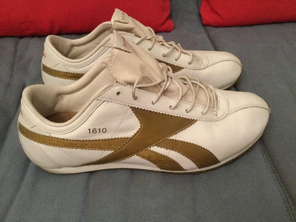 REEBOK Baskets Nº 1610 blanc or véritable cuir rare UE 43