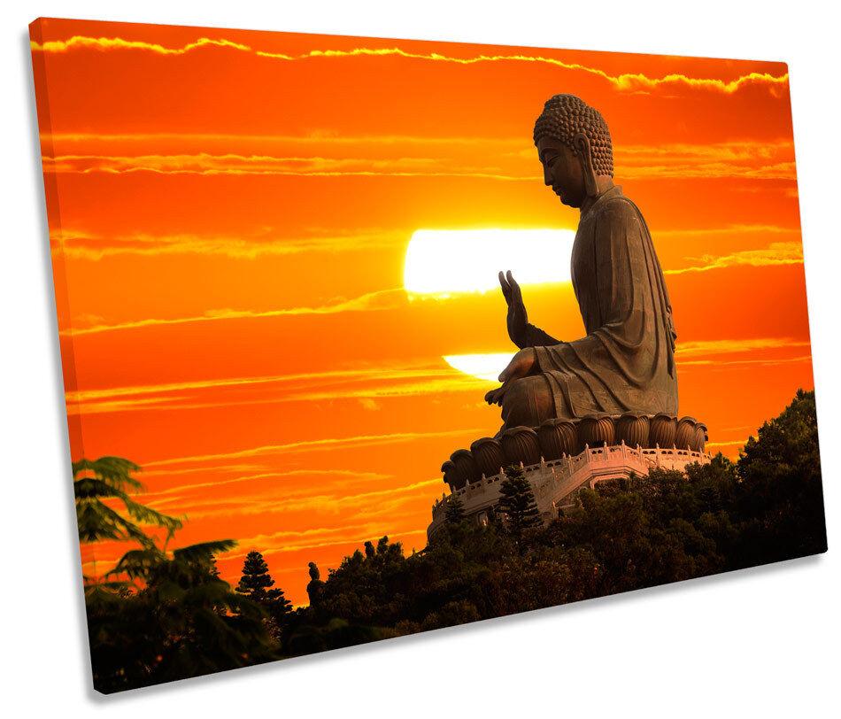Buddha Statue Sunset SINGLE CANVAS WALL ART Framed Print