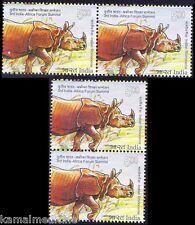 Indian Rhino, Wild Animals, India 2015 MNH In Vertical & Horizontal Pair -B67