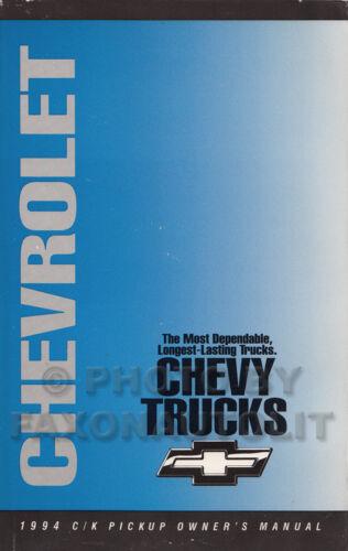 1994 Chevy Pickup Owners Manual Cheyenne Silverado CK 1500-3500 Chevrolet Truck