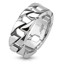 Stainless Steel Cuban Link Chain Men's Ring Wedding Band
