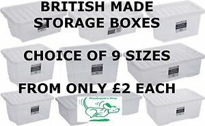 NEW-Quality-British-Made-Clear-Plastic-Storage-Box-Boxes-With-Lids-9-Sizes